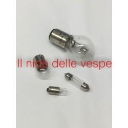 KIT SERIE DI 4 LAMPADINE 6 VOLT ANTERIORI E POSTERIORE PER VESPA 125 VNA 1-2 VNB1-2, VBA 150 VBB 1